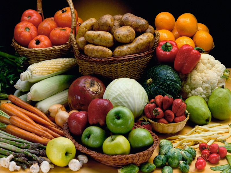 Assortment of Vegetables and Fruit