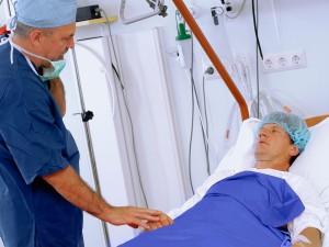 Surgeon reassuring patient