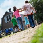 Family at their farm house