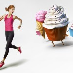 Woman running away from sweets isolated