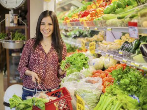 Buying healthy food at the store