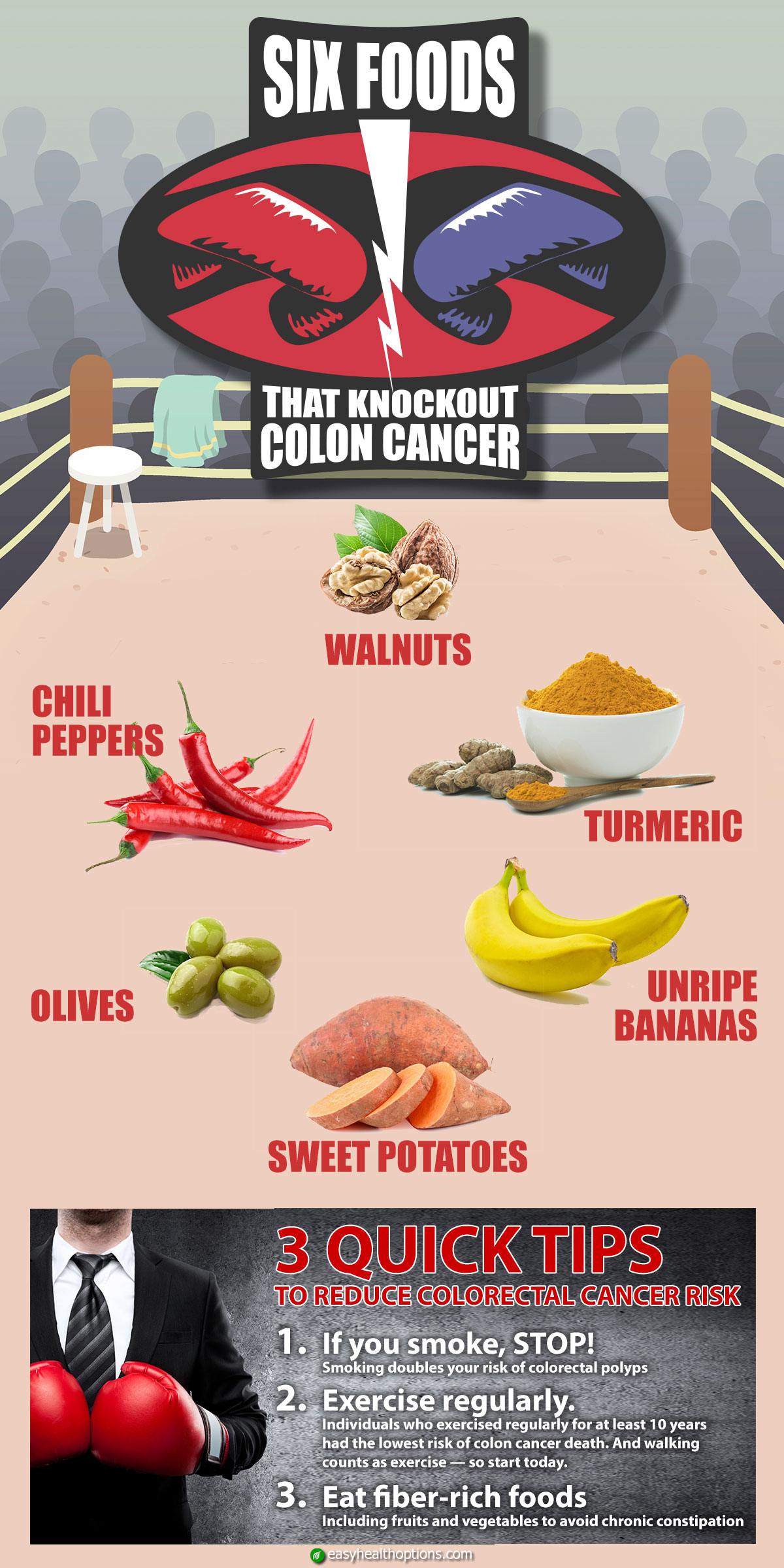 6 Foods That K O Colon Cancer Infographic Easy Health Options