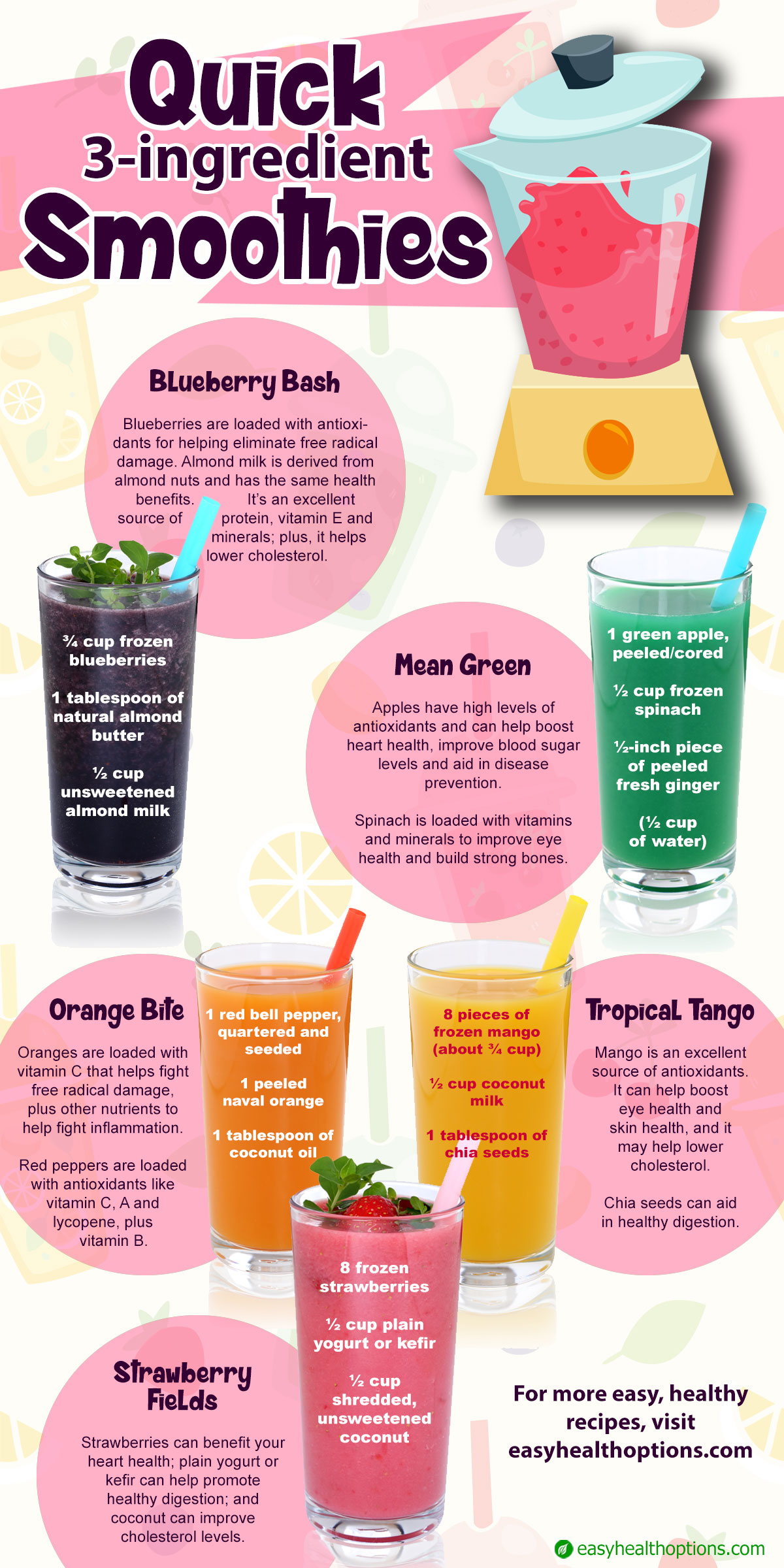 quick 3 ingredient smoothies infographic easy health options