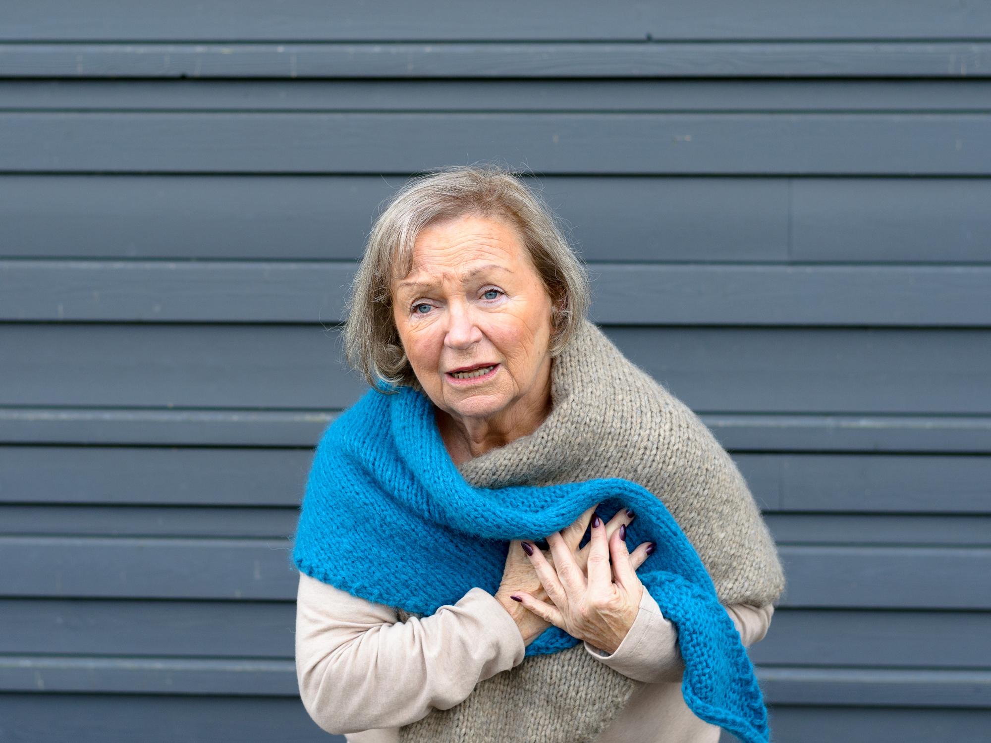 Seniro Woman having heart attack
