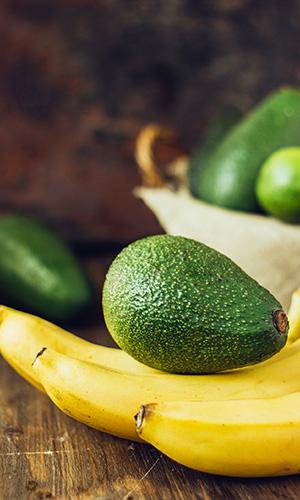 Avocados and bananas