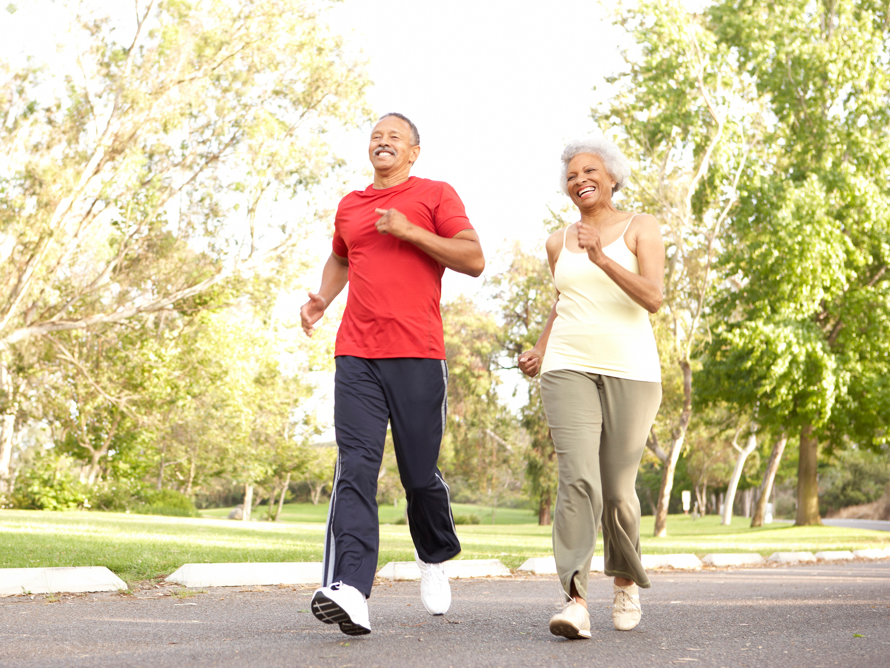 Mature couple getting exercise