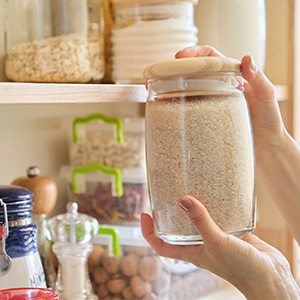 Pantry stocked with non-perishable food