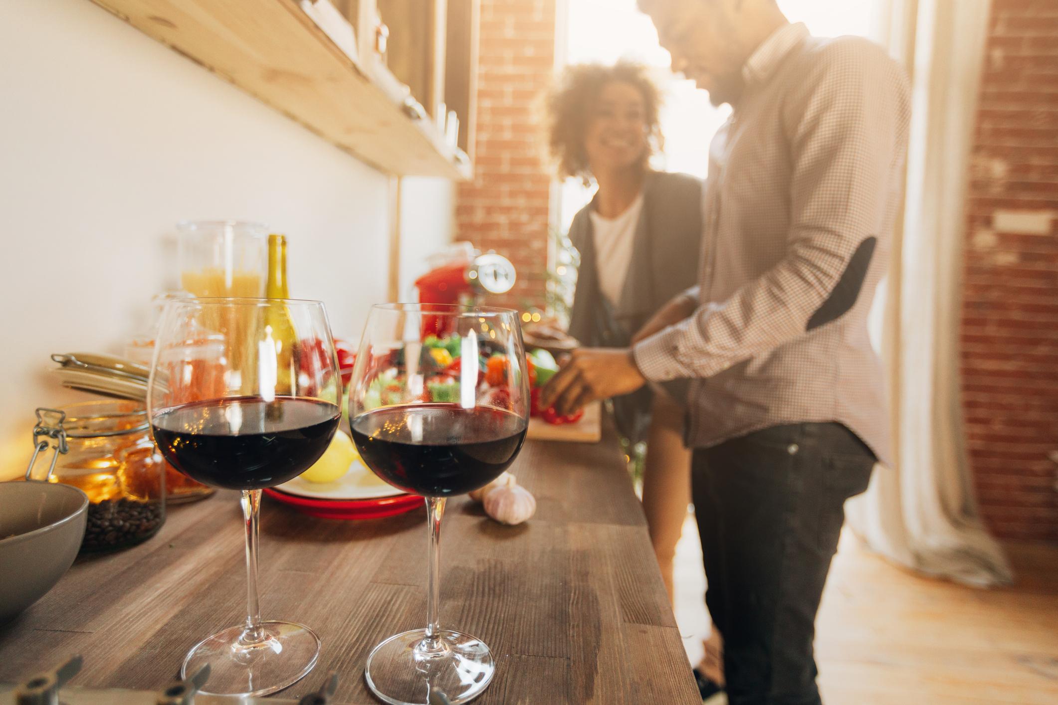Couple kitchen wine